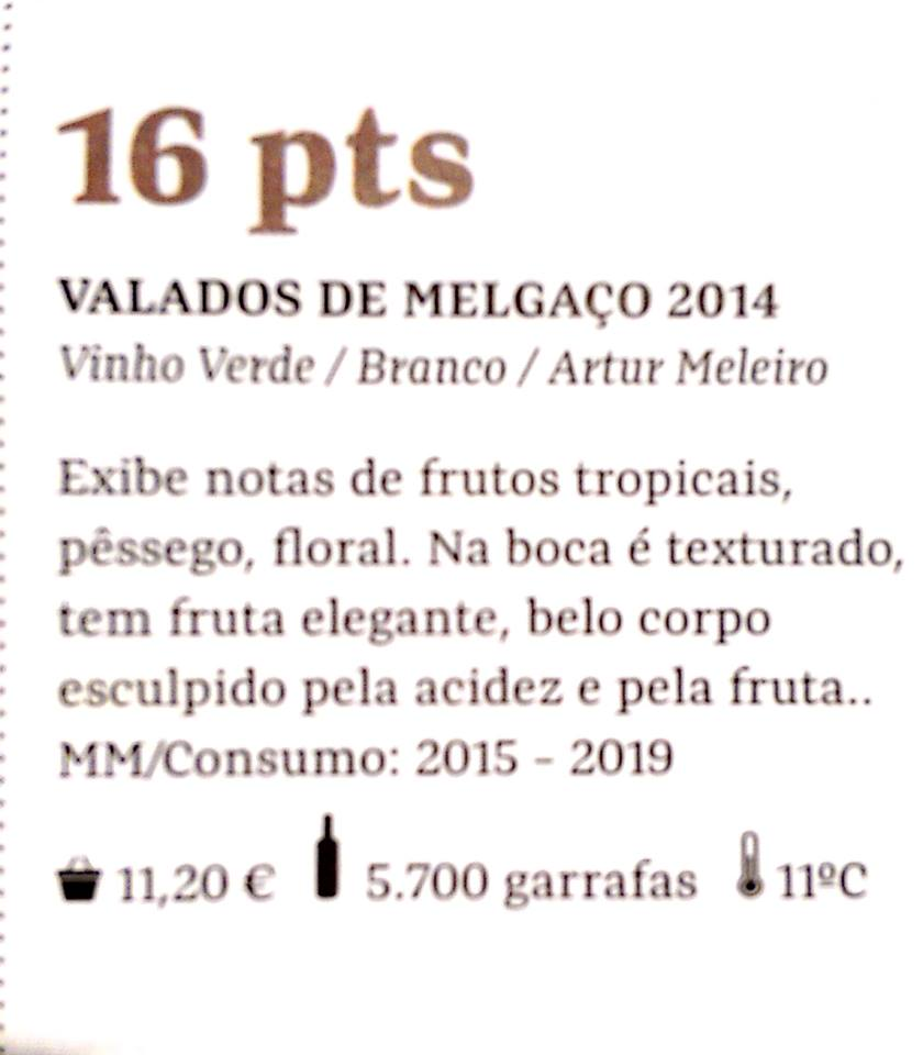 Valados de Melgaço 2014 – Awarded 16 points